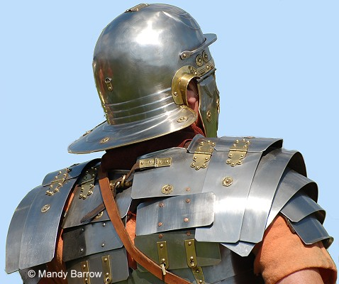 back view of a roman soldier