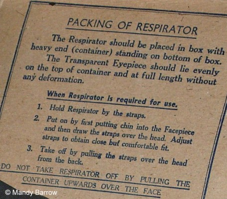 Instructions written on the gas mask box