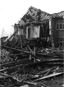 A destroyed house