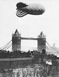 Barrage ballon over Tower Bridge
